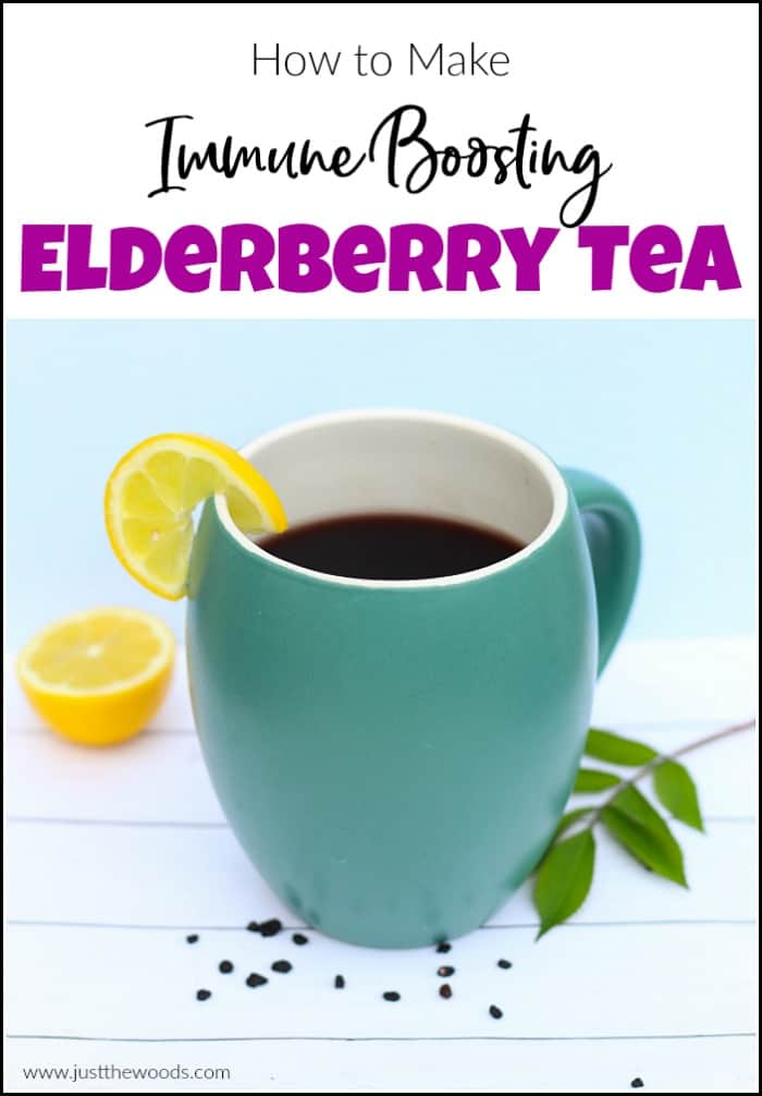 Elderberry tea, just like elderberry syrup is a great immune booster to get you through cold and flu season. See how to make elderberry tea at home with dried elderberries and honey. #elderberrytea #howtomakeelderberrytea #immuneboostingtea #immunitytea