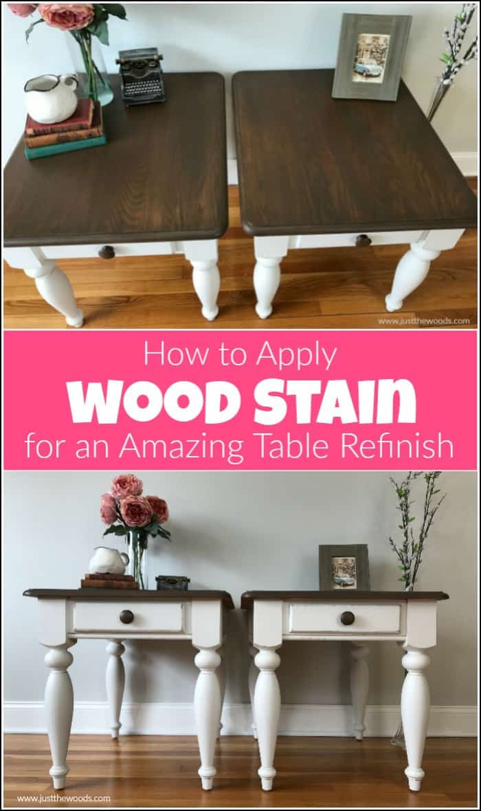 Wood stain can feel intimidating at times. See how to refinish a table with the perfect furniture stain and paint to get amazing results. Refinishing furniture with the best wood stain and furniture paint tutorial. #paintedfurniture #woodstain #howtoapplywoodstain #howtostainwoodtables #paintandstain