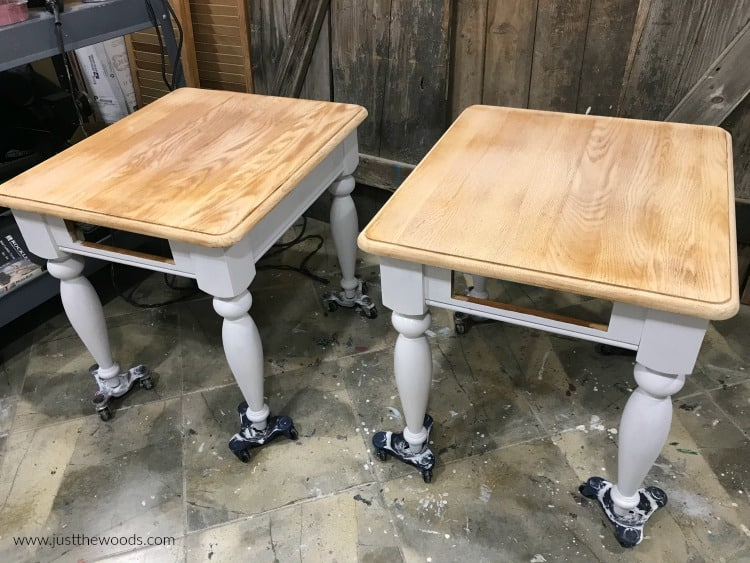 tables painted white with wood tops, white chalk paint with wood stain tops