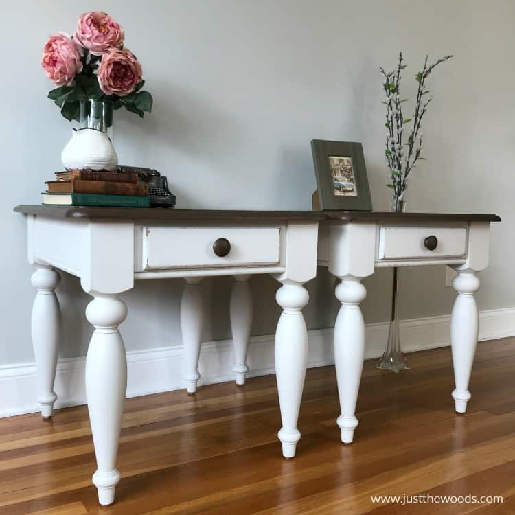 white painted tables with dark wood stain tops, distressed painted tables,