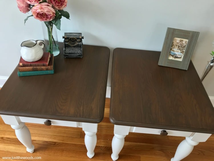 brown stain on painted tables, painted tables with wood stain,