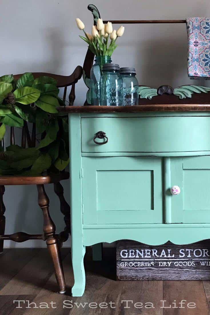 mint green painted furniture, mint green furniture, green furniture makeover