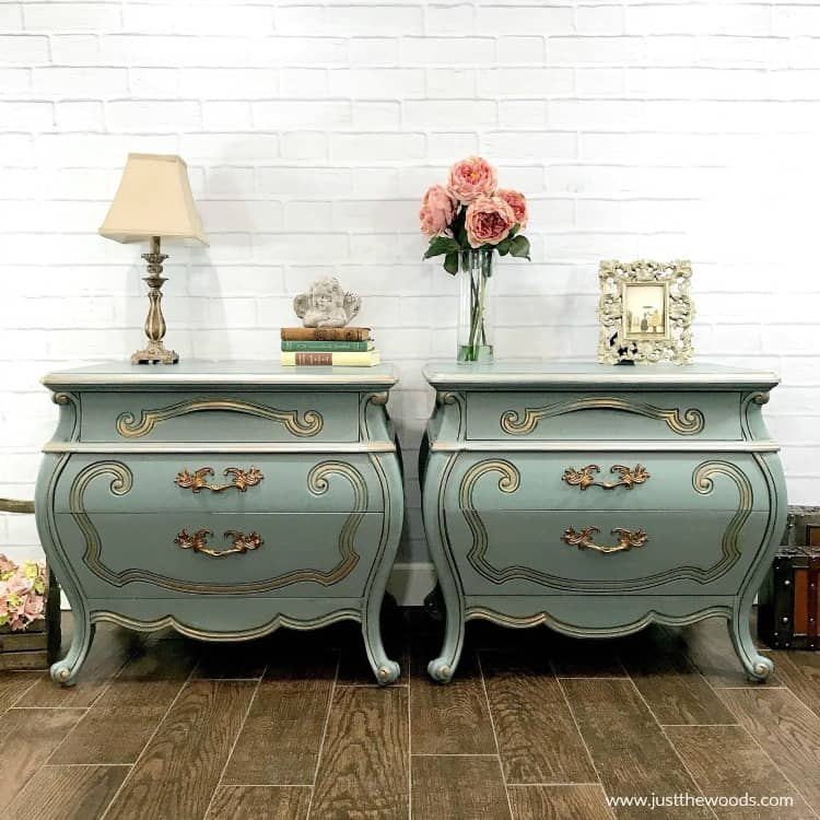 green painted furniture, painted green furniture, mint green furniture, painted bombe chests