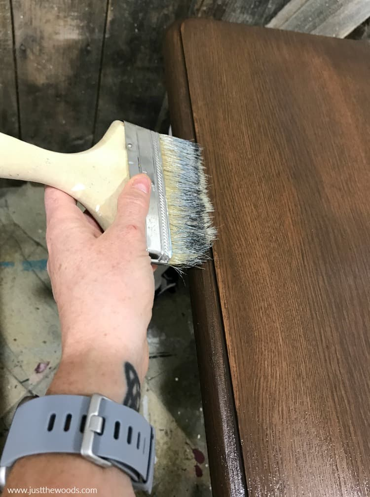 remove excess sealer with clean brush, how to seal refinished tables, how to refinish wooden furniture