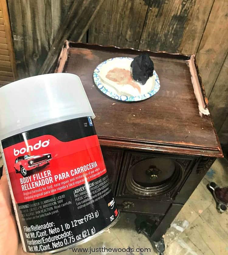 repair wood furniture with bondo, bondo wood filler,