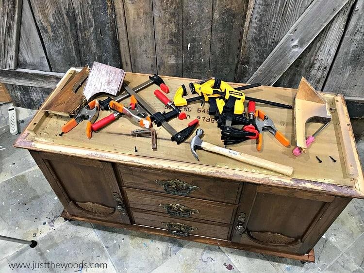 repair broken furniture, remove damaged chest base