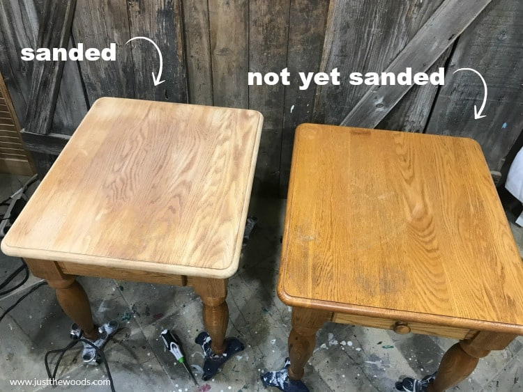 how to sand wood furniture for stain, how to prep wood for stain, sanding wood tables, refinishing funriture