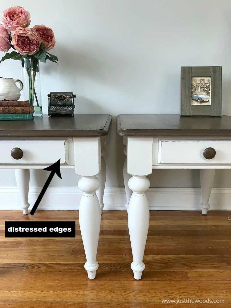 painted furniture with distressed edges, distressed painted furniture, white distressed painted tables