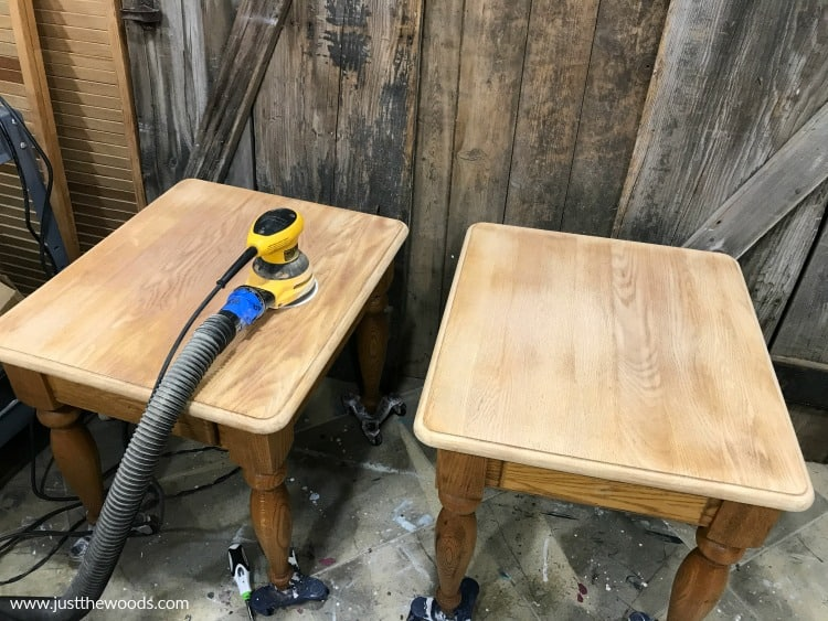 how to sand wood for stain, refinishing furniture, how to refinish tables with stain,
