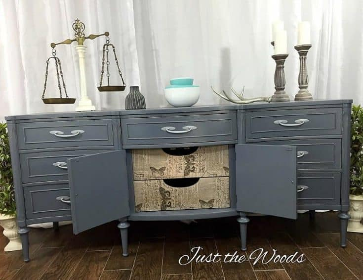 How to Create the Perfect Gray Painted Buffet with Tissue