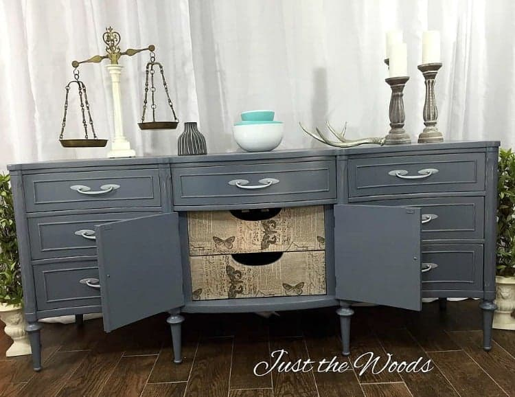 blue gray paint on vintage buffet, gray blue painted furniture