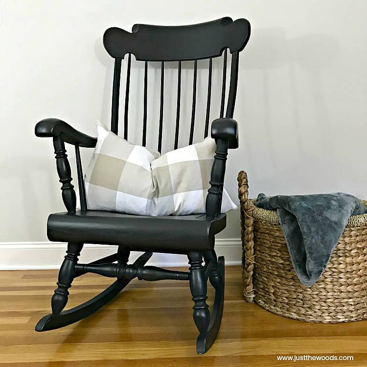 dark gray paint, charcoal paint, painted rocking chair