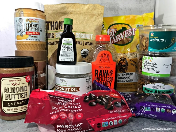 ingredients to make chocolate peanut butter oatmeal bars