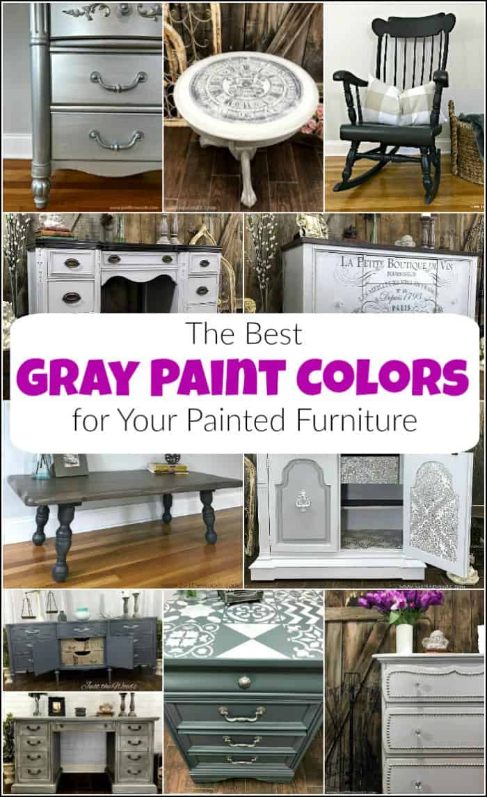 Here are the best gray paint colors to choose from when planning your next DIY project. The gray furniture paint options are endless. #graypaintcolors #grayfurniturepaint #lightgraypaint #graypaintedfurniture #darkgraypaint #bluegraypaint #charcoalgraypaint #graychalkpaint