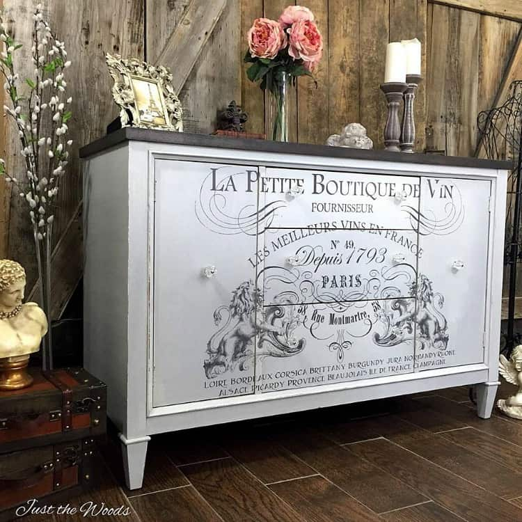 gray white paint on furniture, french image transfer on vintage buffet