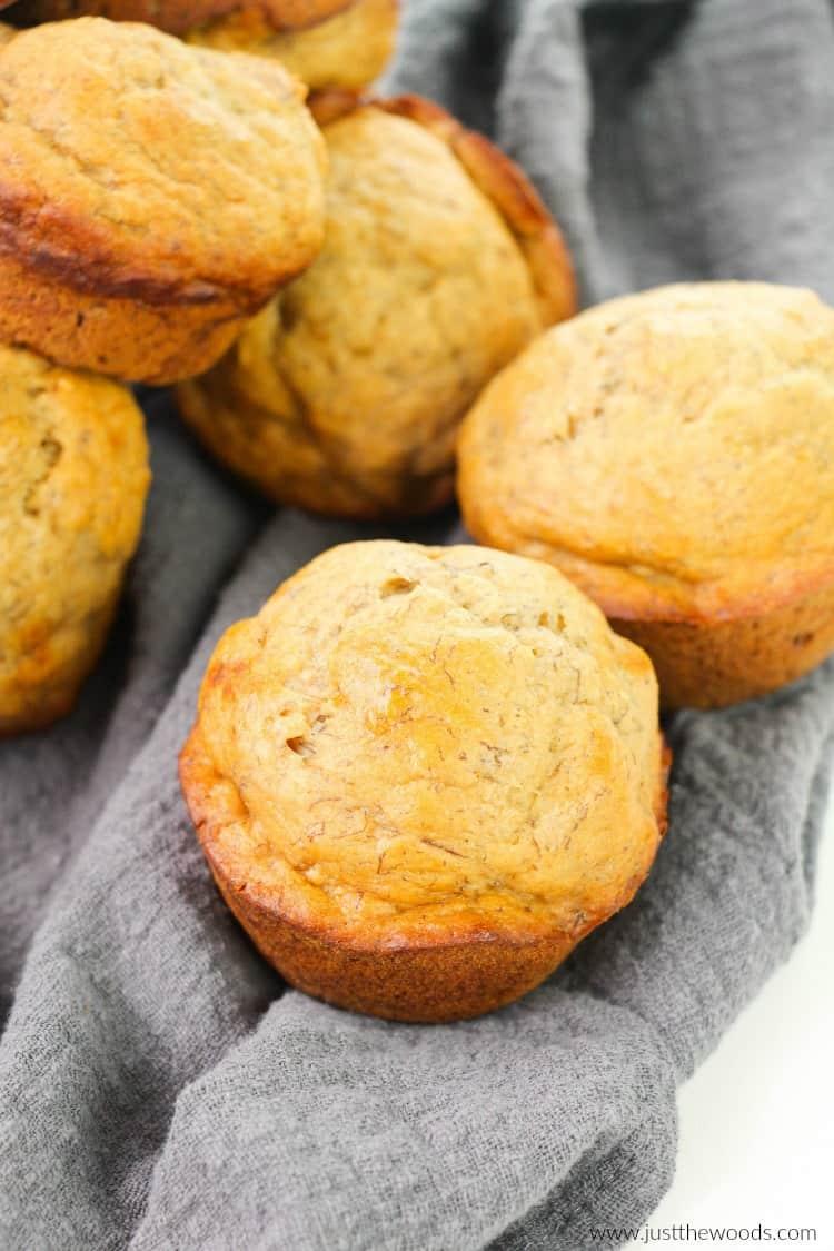 easy banana muffins, easy healthy banana muffins, healthy banana muffin recipes