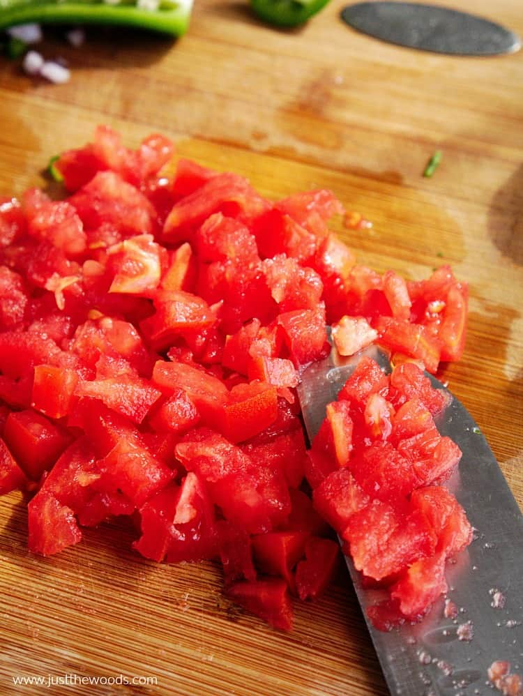 chopped red tomato, tomato in guacamole recipe