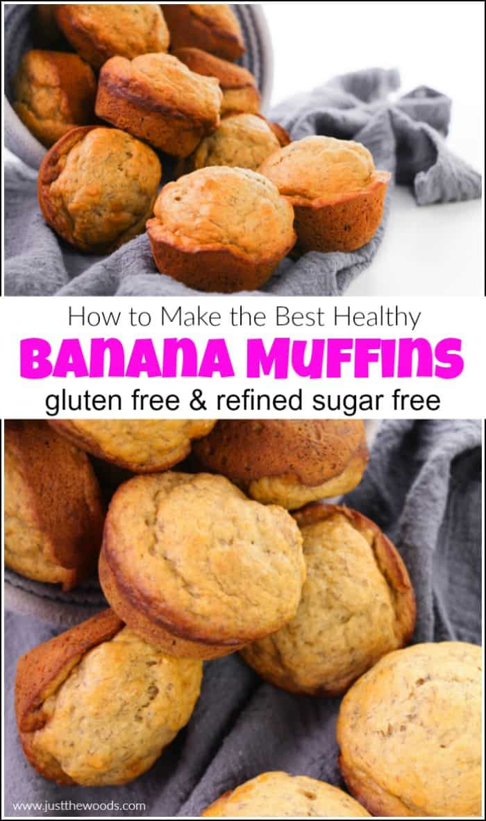 The best healthy banana muffins recipe that is sugar free and gluten free. These banana muffins made with applesauce are delicious. #healthybananamuffins #bananamuffinrecipe #glutenfreebananamuffins #sugarfreebananamuffins #easybananamuffinrecipe