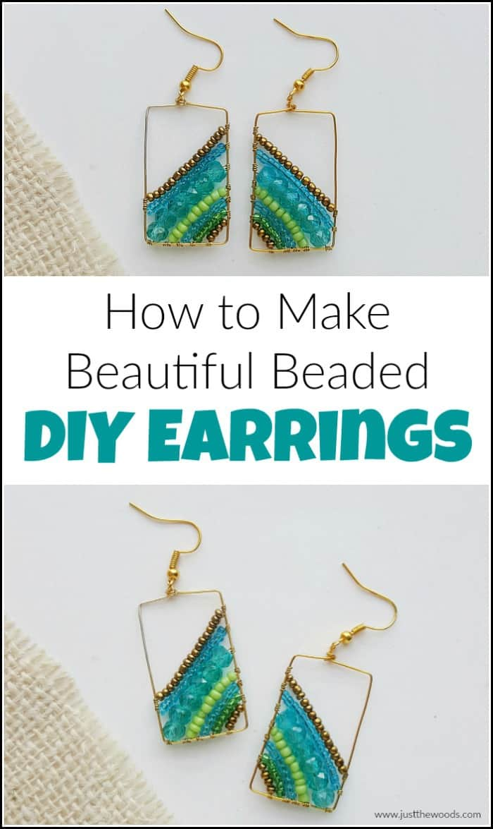 See how to make earrings with this DIY earrings tutorial. Step by step make your own beaded handmade earrings in just a few simple steps. #howtomakejewelry #diyearrings #earringmaking #handmadeearrings #howtomakebeadedearrings