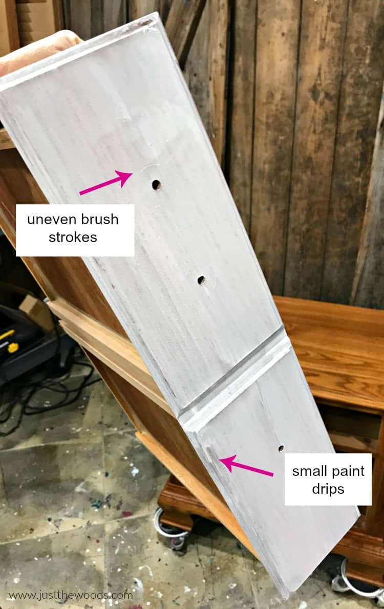 wet white paint on drawer, applying whitewash paint to furniture