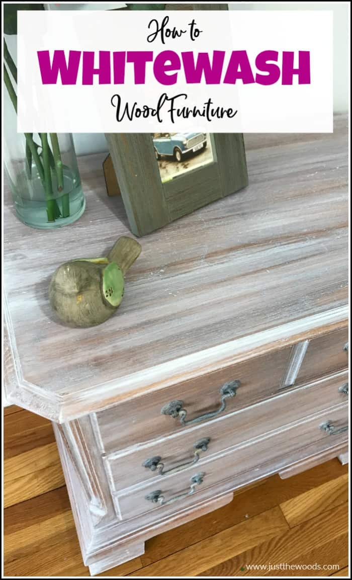 See how to whitewash wood furniture for a gorgeous weathered wood finish. Create the appearance of white wood stain with whitewash paint. #whitewashwood #whitewashfurniture #whitewashpaint #weatheredwood #howtoweatherwood #howtowhitewash