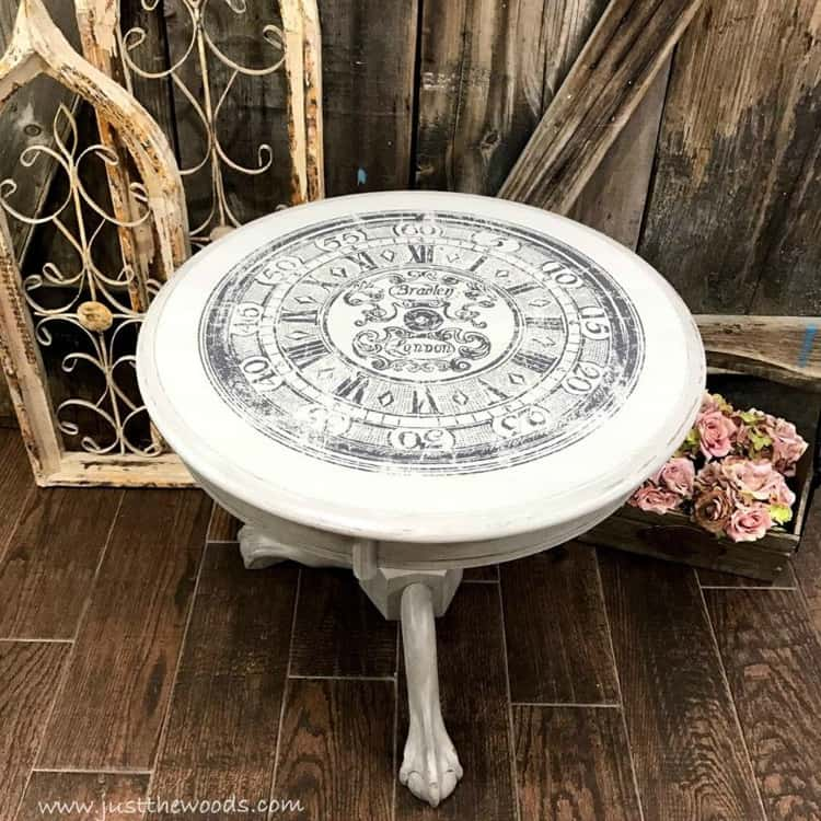light gray paint on painted furniture, painted table with image transfer, clock image on table