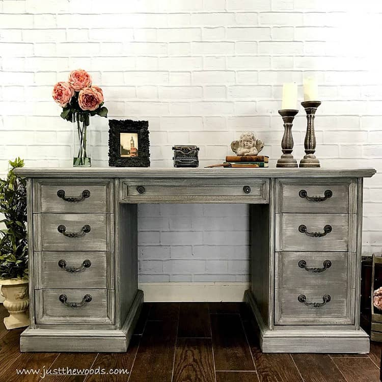 gray painted desk, dry brushed painted furniture