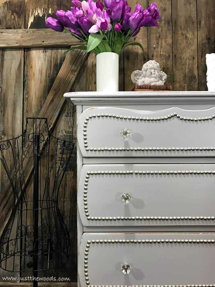 light gray paint colors, gray painted dresser with nailheads