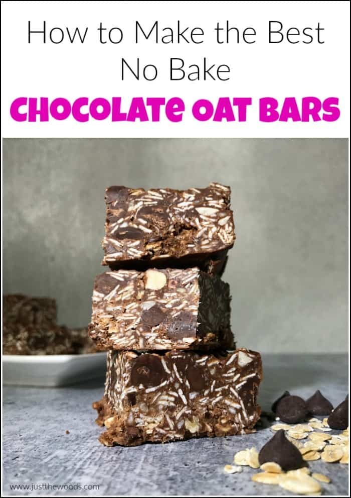 no bake chocolate oat bars, chocolate bars stacked on top of one another,