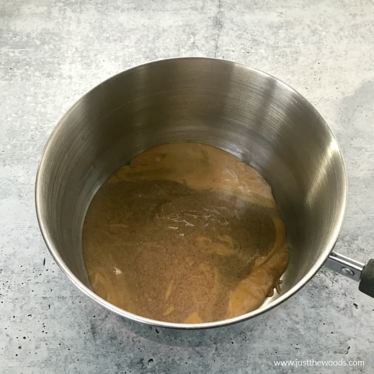 peanut butter and almond butter in saucepan