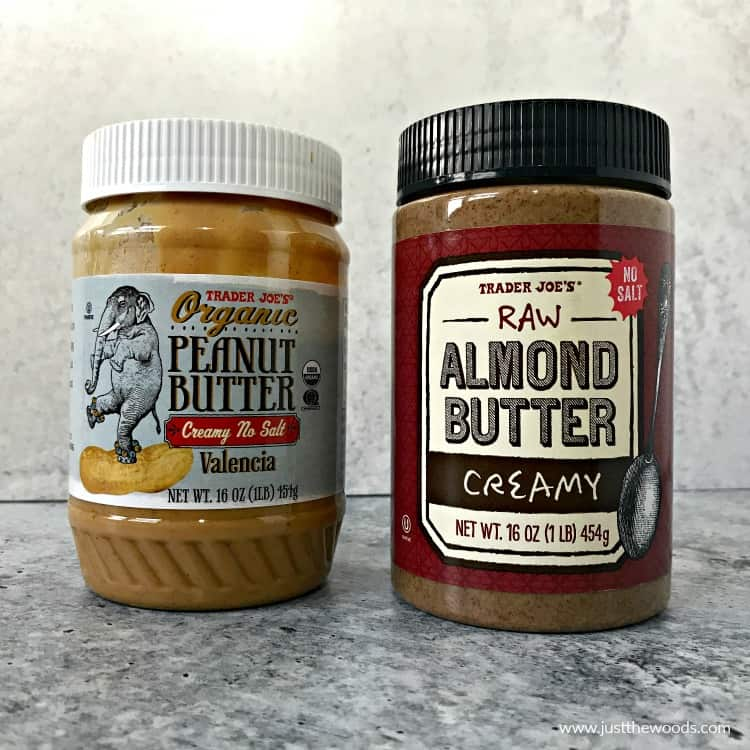trader joes natural peanut butter, raw almond butter, protein powder peanut butter balls