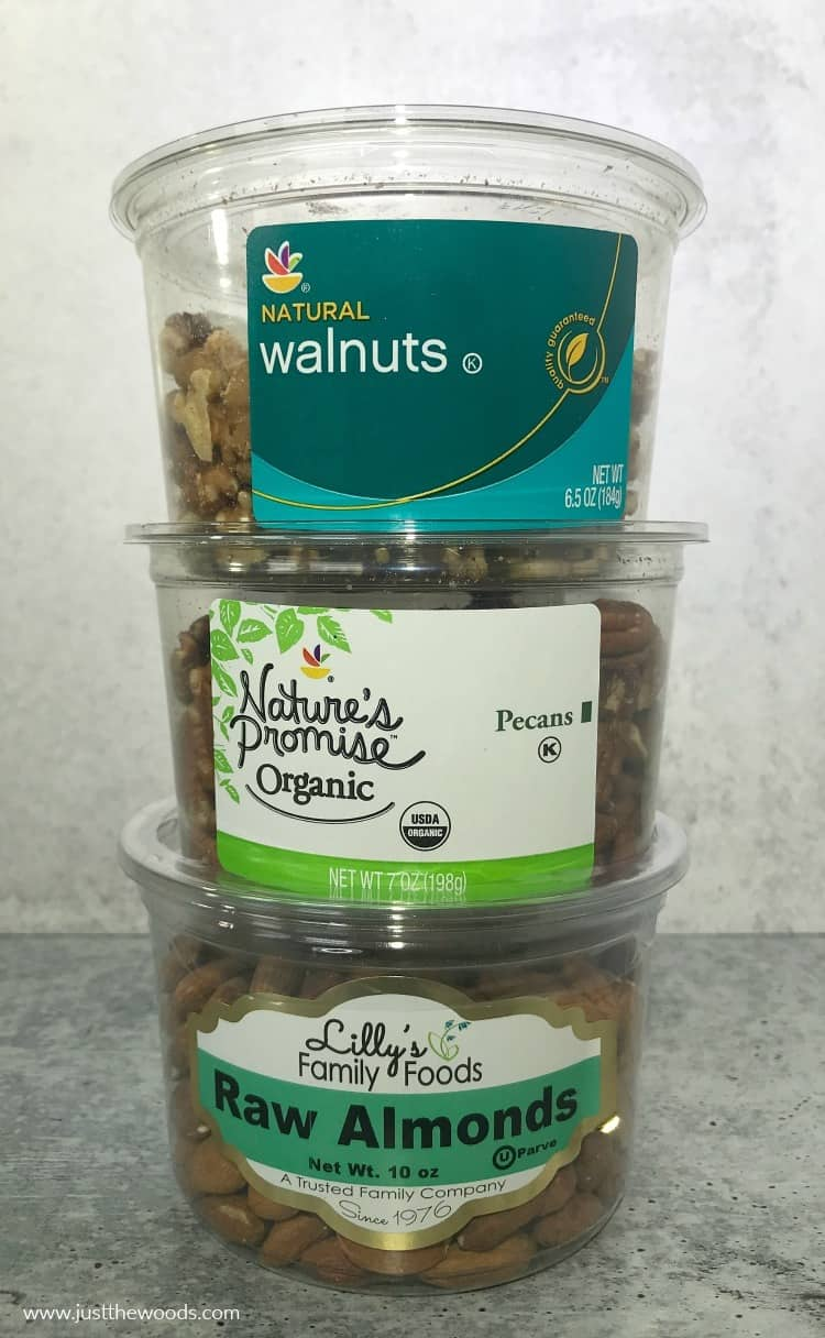 raw nuts, walnuts, pecans, almonds