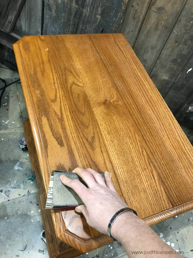 sanding the top of wood nightstand dresser, sand wood furniture with the grain