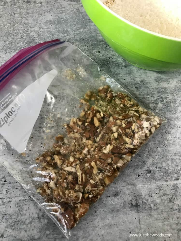 chopped nuts in clear bag