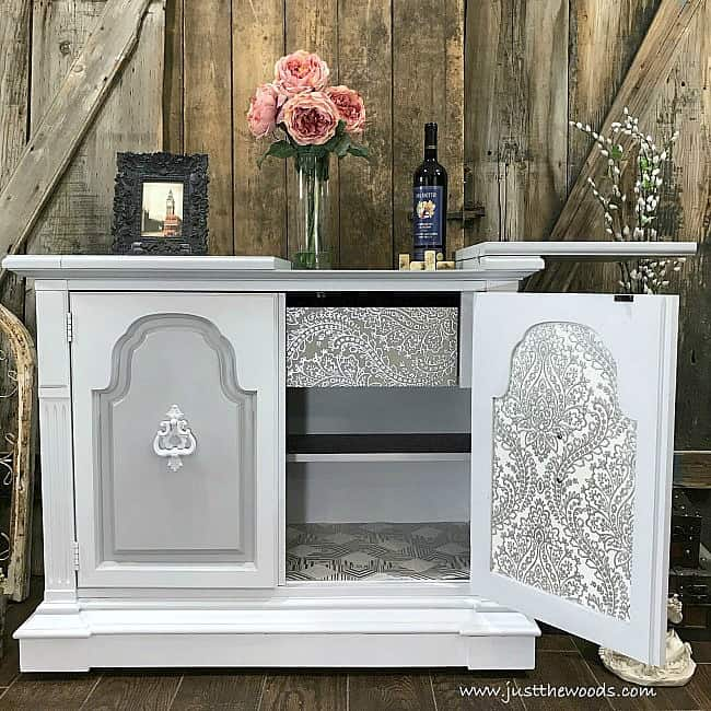 light gray paint on furniture with metallic wallpaper, wallpaper decoupage