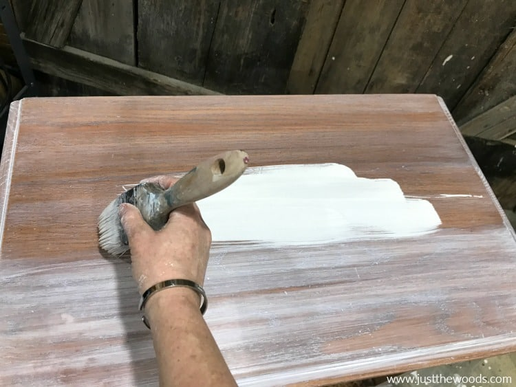 white wash paint on wood furniture, painting whitewash onto table