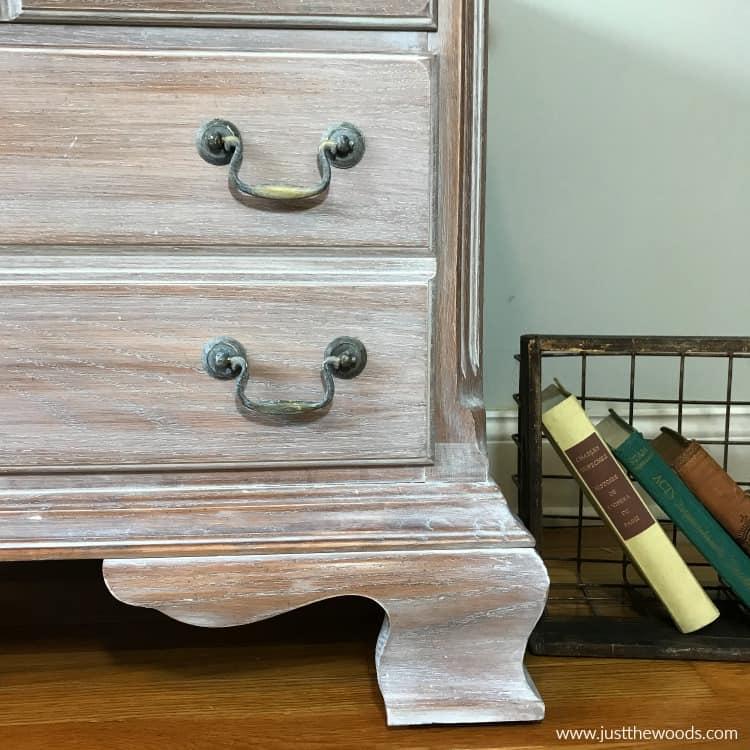 weathered wood furniture, whitewashed drawer hardware