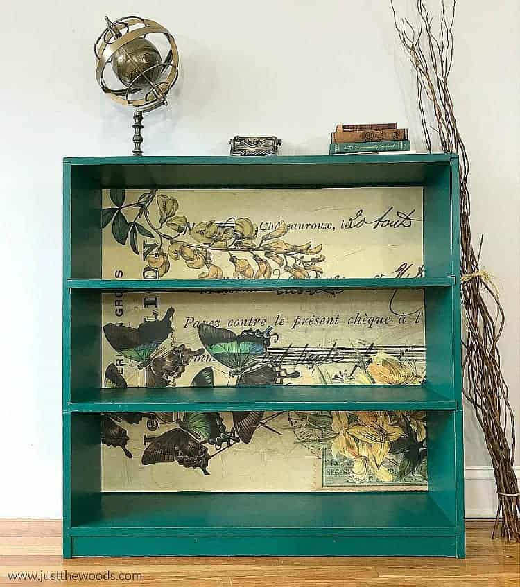 green painted bookcase, butterfly decoupage paper,