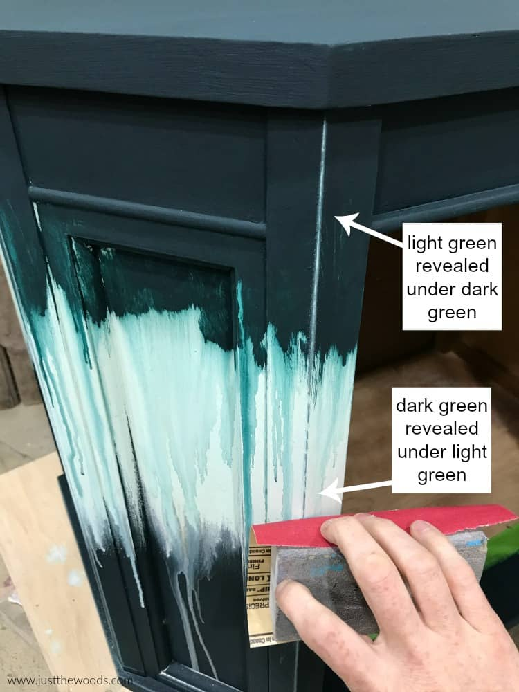 distressing details, painted furniture with laters and distressing