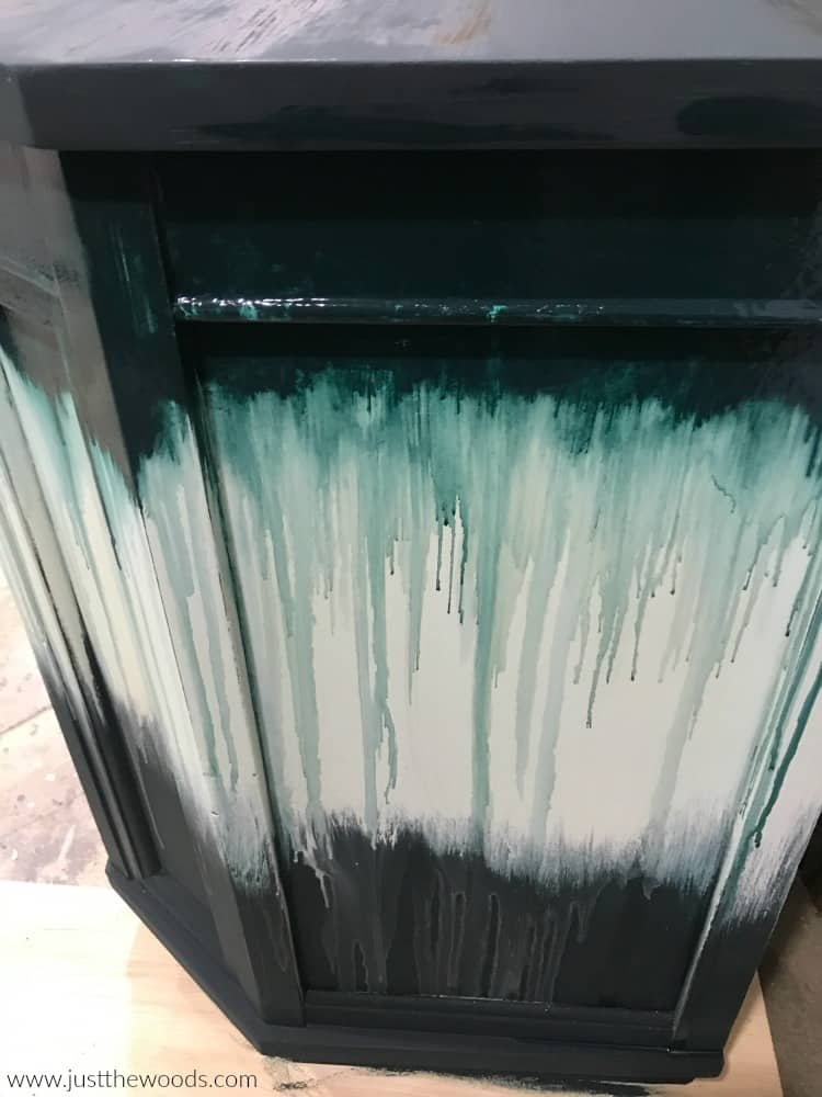 tie dye effect on furniture, paint dripping on furniture, chalk painted furniture