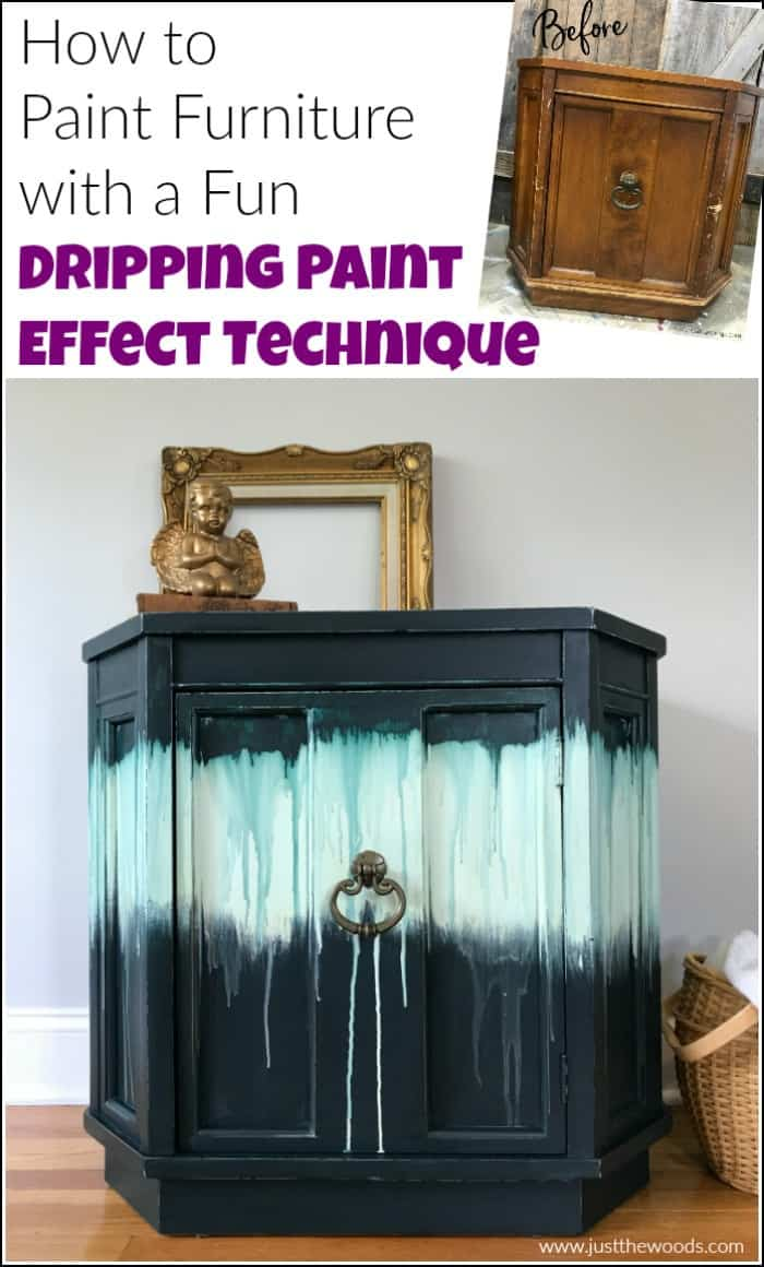 dripping paint on painted furniture before and after