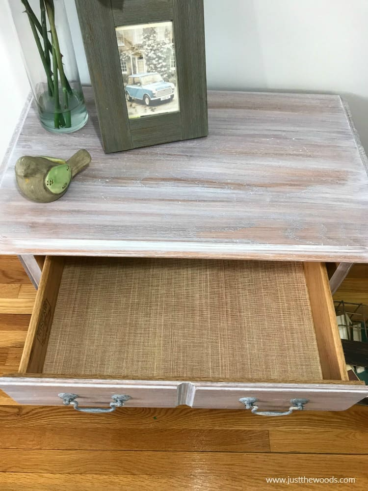 whitewash painted furniture with diy drawer liners