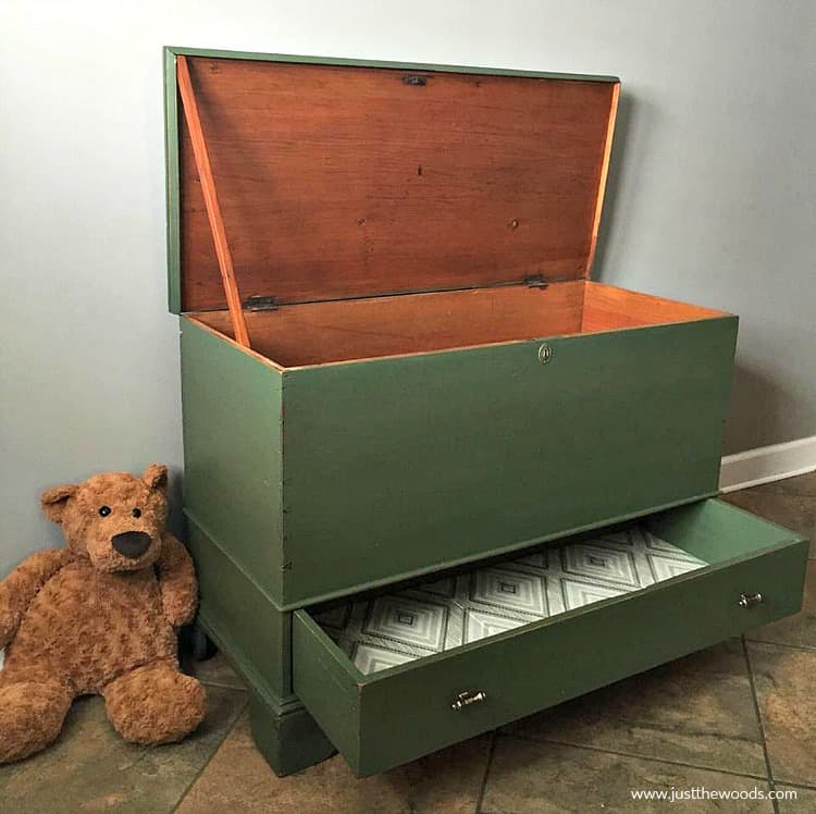 green painted toy box with fabric lined drawer