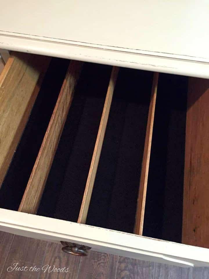 felt drawer liner in cutlery drawer