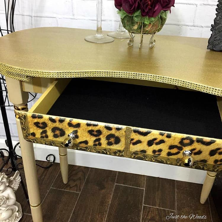 self adhesive black felt drawer liner, glitter painted desk