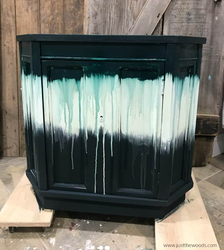 dripping paint on furniture with chalk paint