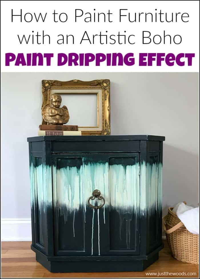 how to paint furniture with a boho style artistic paint dripping effect