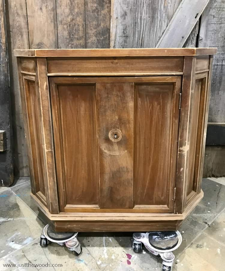 sanded wood cabinet before paint