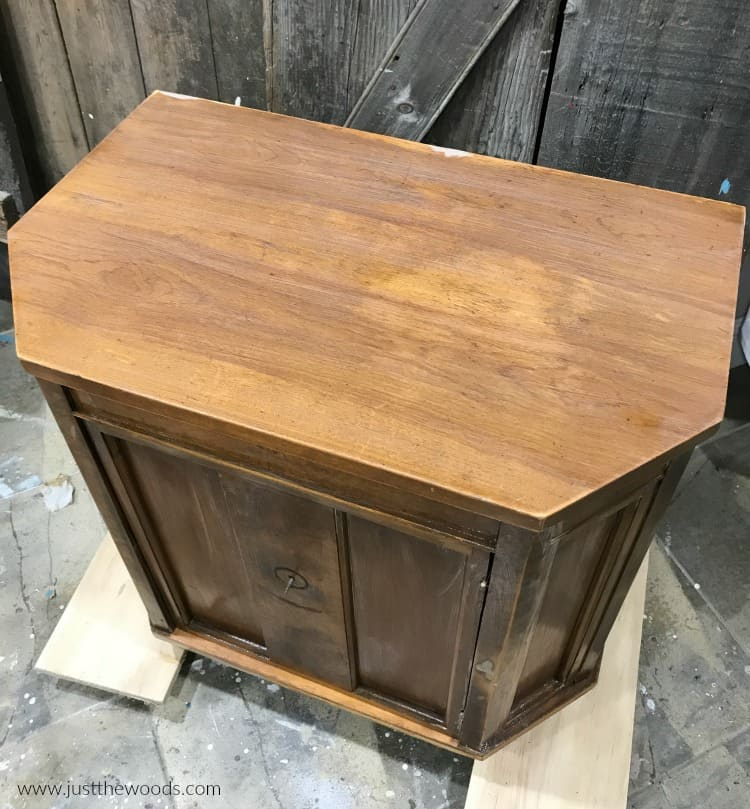 brown wood cabinet with clear primer, primer before chalk paint