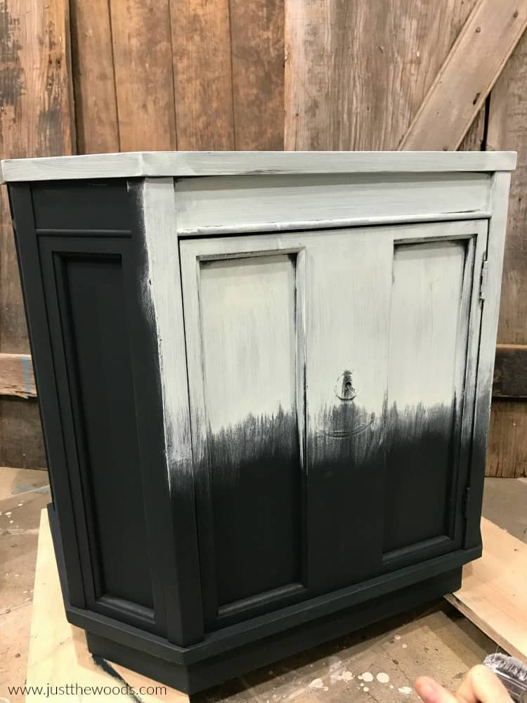 light green paint on furniture with dark green paint